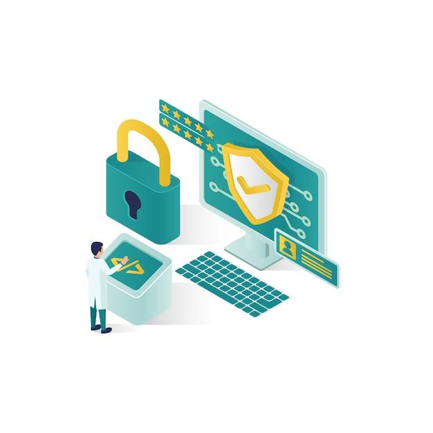 .isometrische gegevensbeveiliging illustratie, mensen gegevensbeveiliging in isometrische stijlontwerp Premium Vector
