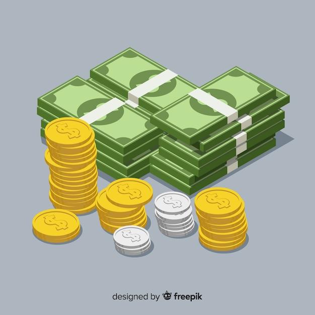 Isometrische geld achtergrond Gratis Vector