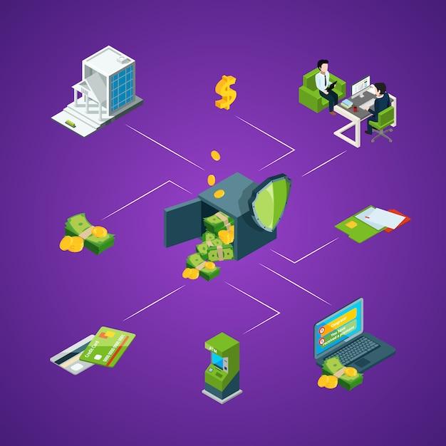 Isometrische geldstroom in infographic bankpictogrammen Premium Vector