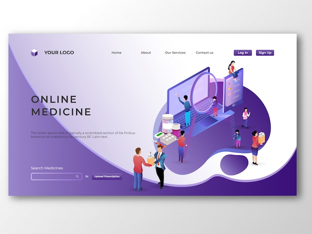 Isometrische geneeskunde op laptop. online medische winkel met e-betalers Premium Vector
