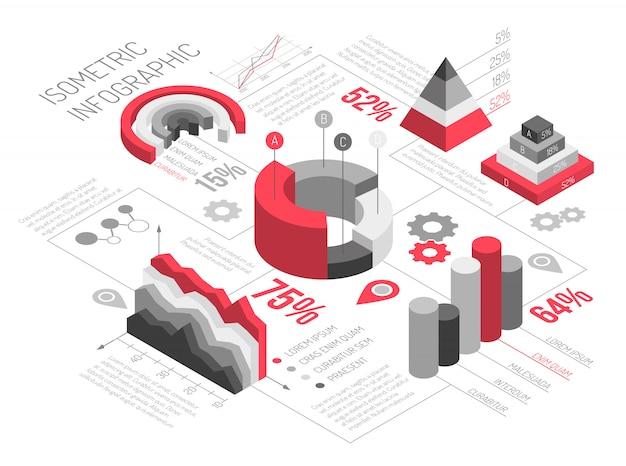 Isometrische geometrische solide infographics Gratis Vector