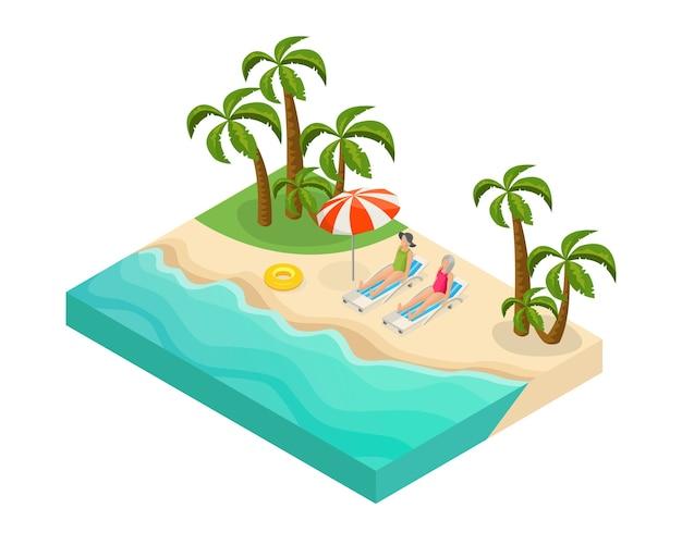 Isometrische gepensioneerde mensen zomervakantie concept met gepensioneerden liggend op ligstoelen in de buurt van zee op tropisch strand Gratis Vector