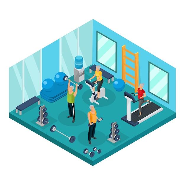 Isometrische gepensioneerden in sportschool concept met grootvaders halters halters opheffen en grootmoeders lopen op loopband en hometrainer Gratis Vector