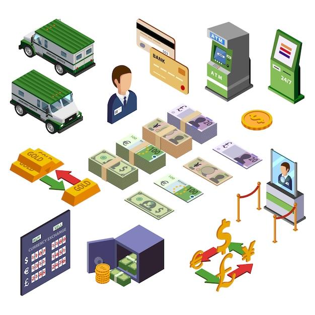 Isometrische geplaatste bankbiljetten Gratis Vector