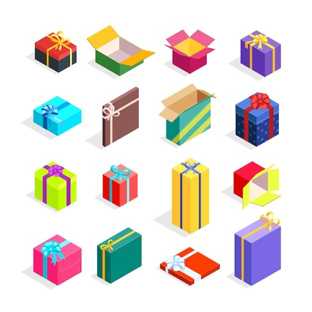 Isometrische geschenkdozen instellen Gratis Vector