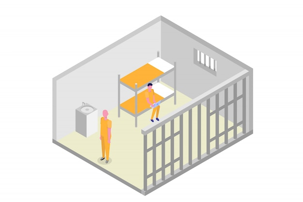 Isometrische gevangeniscel. gevangenis, opsluiting concept. vector illustratie Premium Vector