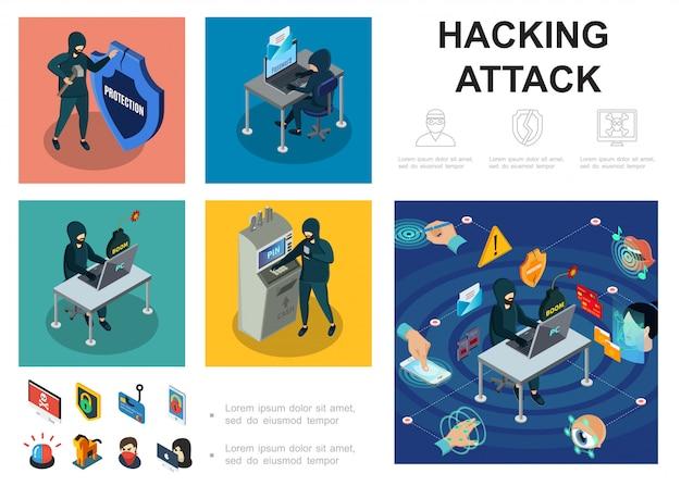 Isometrische hackeractiviteitssjabloon met computerservers atm die cyberdief hacken online geld stelen biometrische autorisatiebeveiliging Gratis Vector