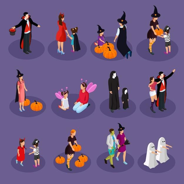 Isometrische halloween-vakantiecollectie met mensen die hoeden en kostuums van geïsoleerde vampierheks spook fee duivel dragen Gratis Vector