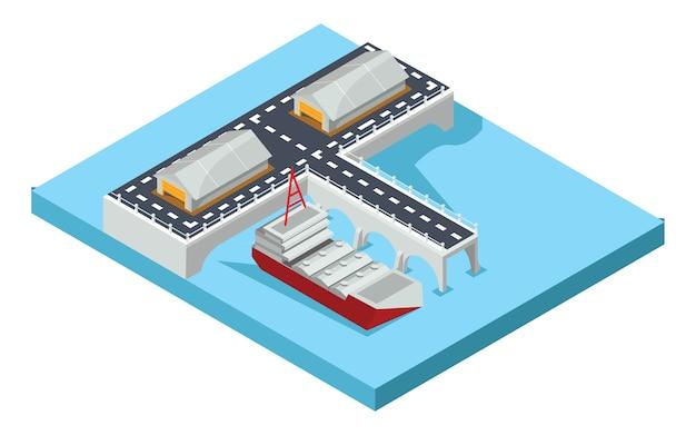 Isometrische haven van goederen, vectorillustratie Premium Vector
