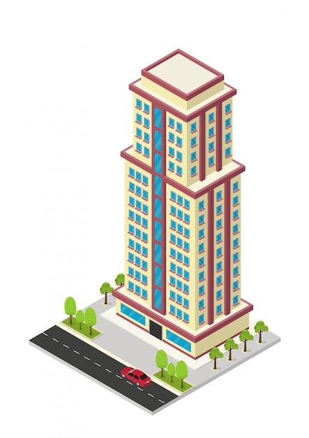 Isometrische hotel, appartement of wolkenkrabber bouwen Premium Vector
