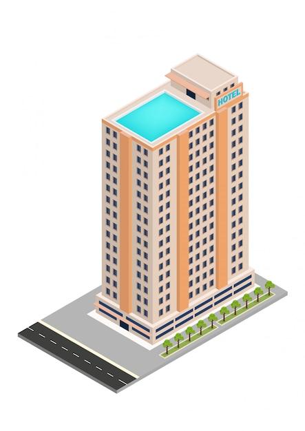 Isometrische hotel of wolkenkrabber bouwen Premium Vector