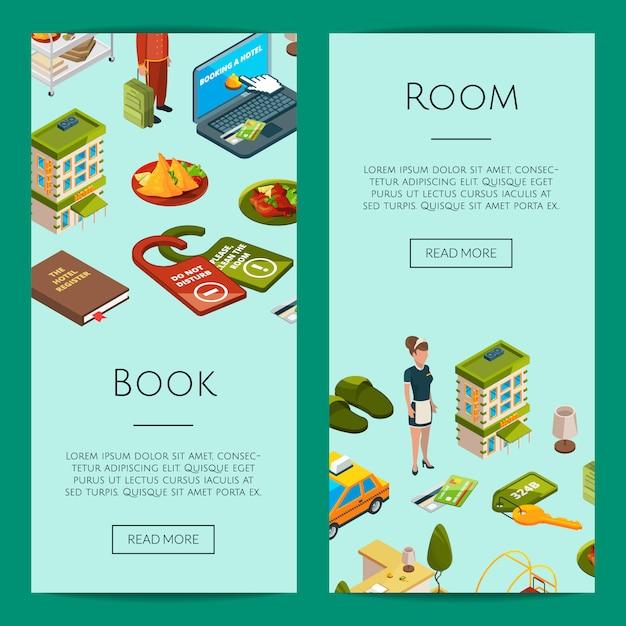 Isometrische hotel pictogrammen web banner sjablonen illustratie Premium Vector