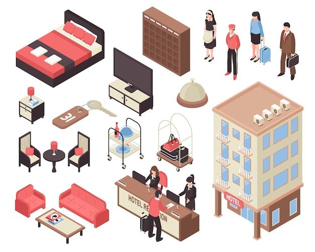 Isometrische hotel set Gratis Vector