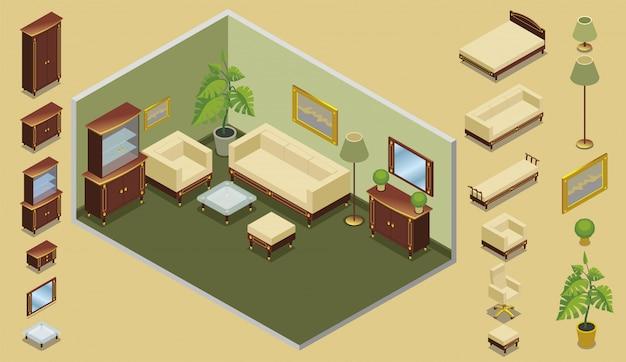Isometrische hotelkamer creatie concept met bed stoelen kasten spiegel tafels lampen planten foto Gratis Vector
