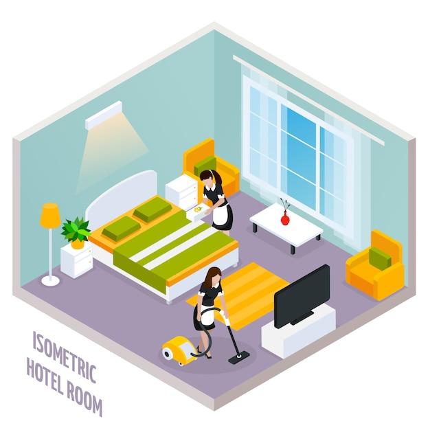 Isometrische hotelkamerinterieur Gratis Vector