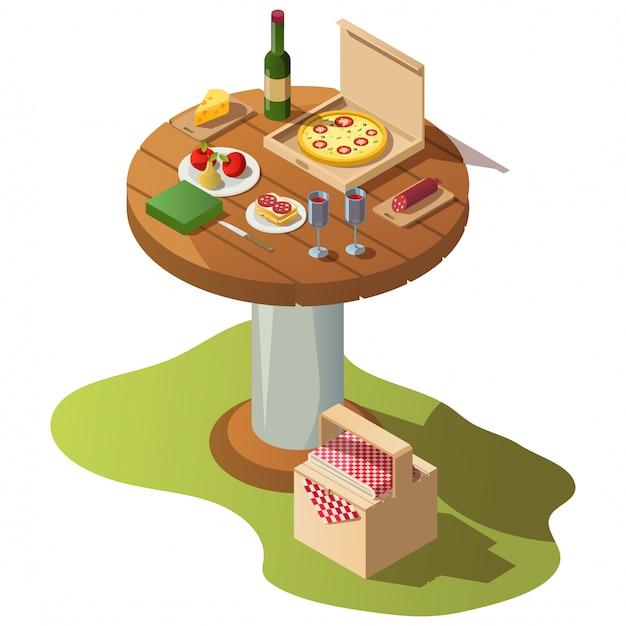 Isometrische houten tafel voor picknick met voedsel Gratis Vector
