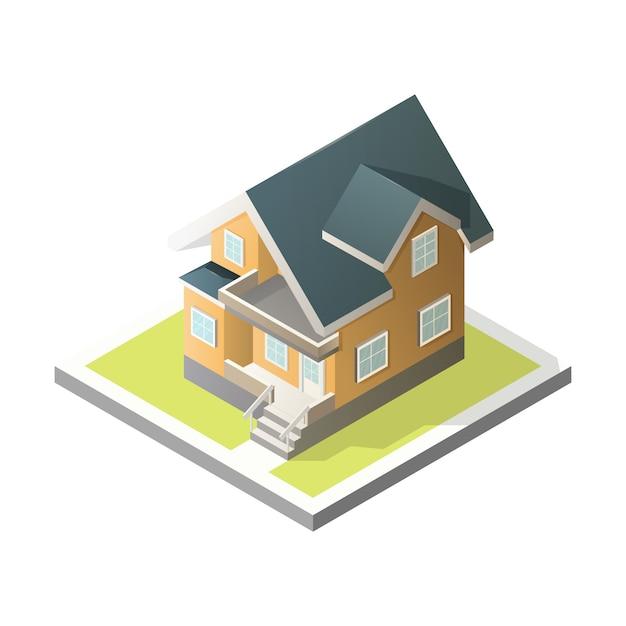 Isometrische huis. 3d cottage. Premium Vector