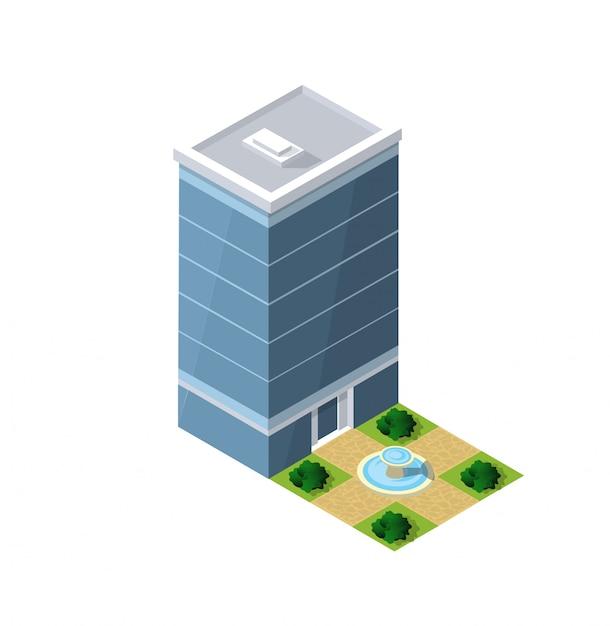 Isometrische huis stedelijke Premium Vector