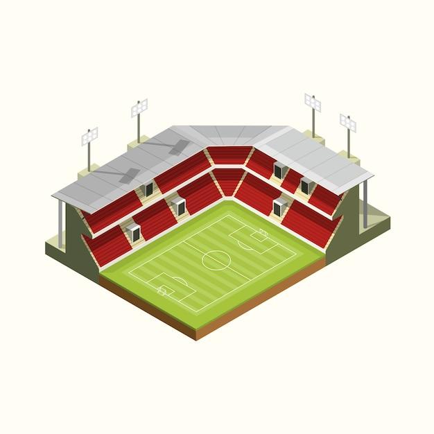 Isometrische icon stadion dak structur voetbal of voetbal. vectorillustratie Premium Vector