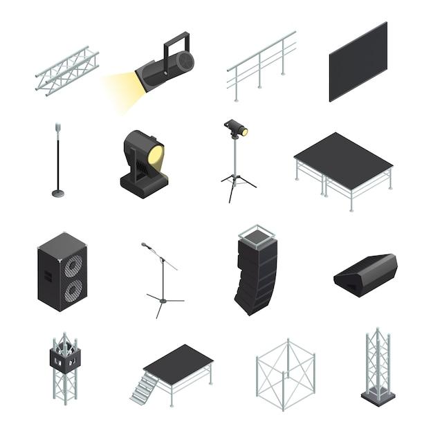 Isometrische iconen set van podiumelementen verschillende stands met microfoons spotlights luidsprekers Gratis Vector