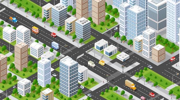 Isometrische illustratie stad Premium Vector