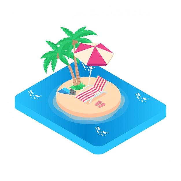 Isometrische illustratie vakantie pictogram. turquoise zee Premium Vector