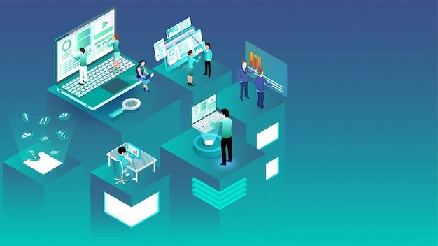 Isometrische illustratie van mensen uit het bedrijfsleven die werken op verschillende platforms. Premium Vector