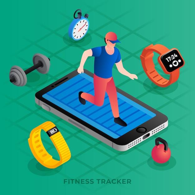 Isometrische illustratie van moderne fitness tracker Premium Vector