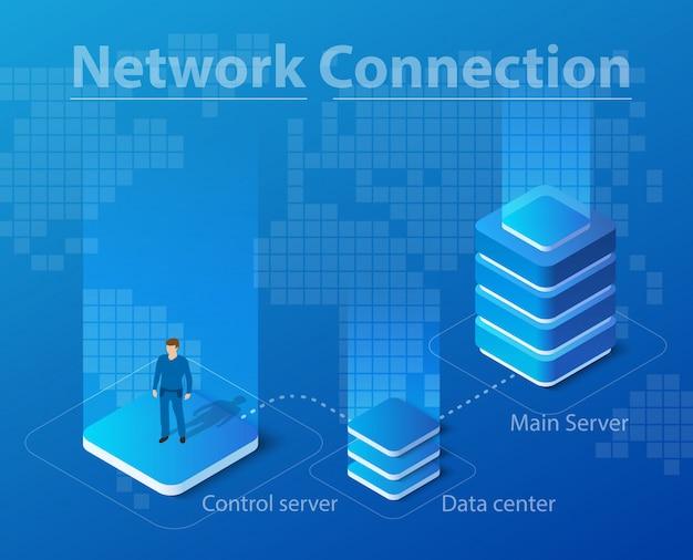 Isometrische illustratie van netwerktechnologie Premium Vector