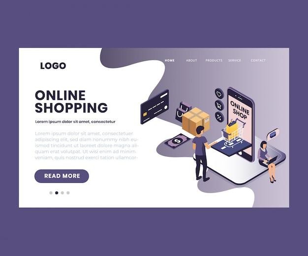 Isometrische illustratie van online winkelen via mobiele app Premium Vector