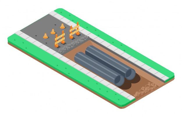 Isometrische illustratie van reparatie van asfaltweg Premium Vector