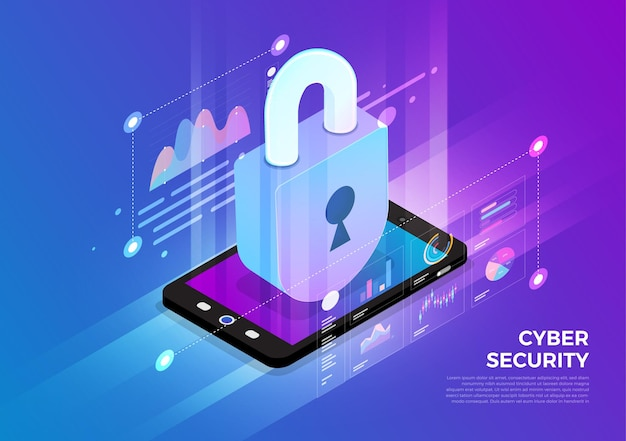 Isometrische illustraties ontwerpconcept mobiele technologieoplossing bovenop met cyberveiligheid Premium Vector