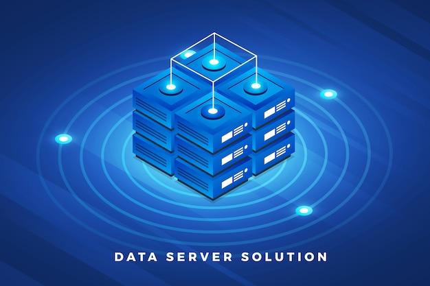 Isometrische illustraties ontwerpconcept technologie-oplossing bovenop met big data-server Premium Vector