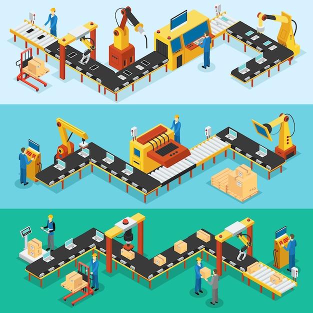 Isometrische industriële fabriek horizontale banners Gratis Vector