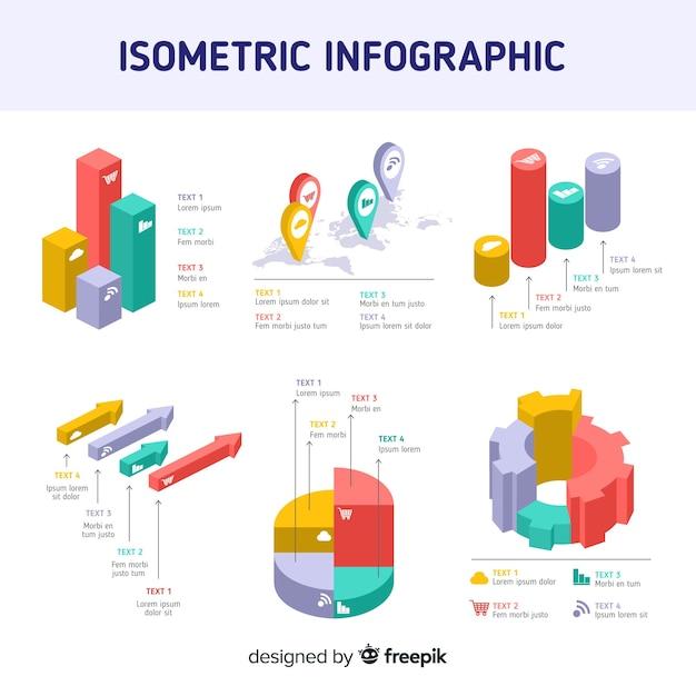 Isometrische infographic elementen sjabloon Gratis Vector
