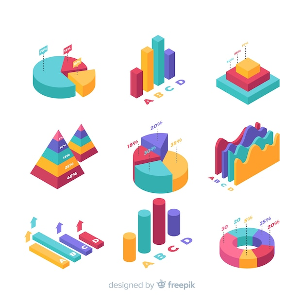 Isometrische infographic elementenverzameling Premium Vector