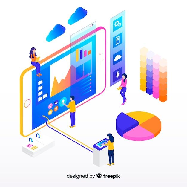 Isometrische infographic met grafieken en mensen Gratis Vector