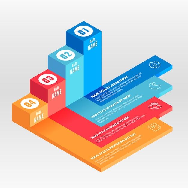 Isometrische infographic sjabloon Gratis Vector