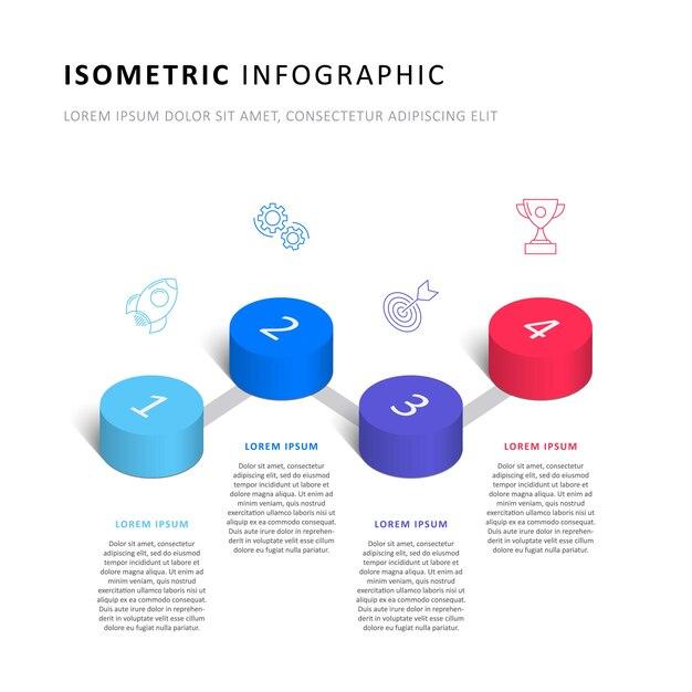Isometrische infographic tijdlijnsjabloon met realistische 3d cilindrische elementen en marketing pictogrammen op wit Premium Vector