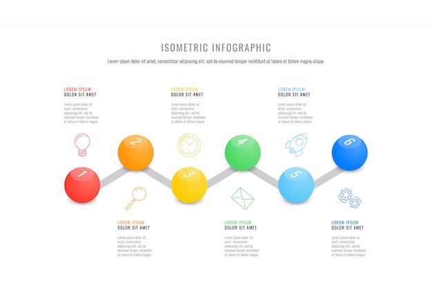 Isometrische infographic tijdlijnsjabloon met realistische 3d ronde elementen Premium Vector