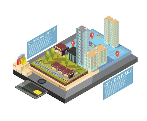 Isometrische infographics met online goederen, stadslevering van pakhuis tot bestemming op de vectorillustratie van het mobiele apparatenscherm Gratis Vector