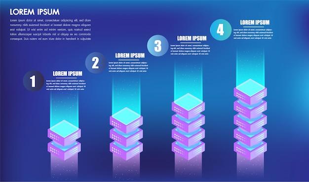 Isometrische infographics ontwerp 4 opties leves of stappen voor 3d-vakken van het bedrijfsconcept succes Premium Vector