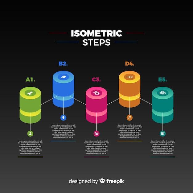 Isometrische infographics stappen achtergrond Gratis Vector