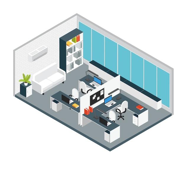 Isometrische interieur kantoor werkplek samenstelling opstelling van meubels en apparatuur in miniatuur Gratis Vector