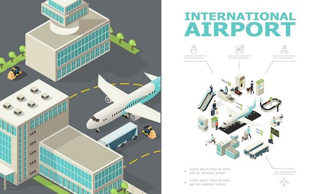 Isometrische internationale luchthavensamenstelling met vliegtuigbusgebouwen incheckbalie op maat en paspoortcontrole passagiers vertrek board bagage transportband Gratis Vector