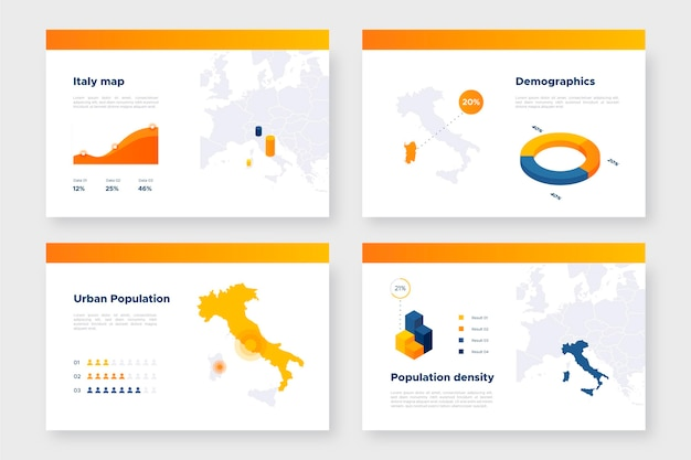 Isometrische italië kaart infographic Premium Vector