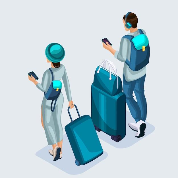 Isometrische jong meisje en man op de luchthaven, koffers, dingen. tieners gaan op vakantie via de internationale luchthaven Premium Vector