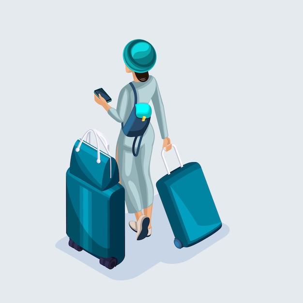 Isometrische jong meisje op de luchthaven en wachten op haar vlucht, documenten, koffers en dingen voor reizen en reizen Premium Vector
