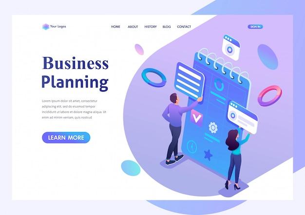 Isometrische jonge ondernemers houden zich bezig met het opstellen van bedrijfsplanning voor de maand. sjabloon bestemmingspagina voor website Premium Vector