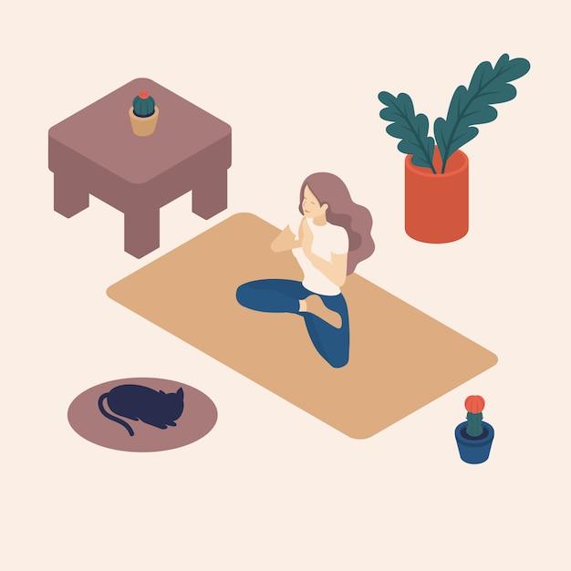 Isometrische jonge vrouw in haar vrije tijd, thuis, het beoefenen van yoga, asana. Premium Vector